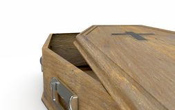 Open Coffin And Crucifix. A slightly open empty wooden coffin with a metal crucifix and handles on an isolated white studio background - 3D Render stock illustration