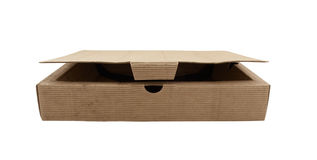 Slightly opened box made from corrugated cardboard Royalty Free Stock Photography
