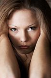 Slightly sad glance (color version) Royalty Free Stock Image