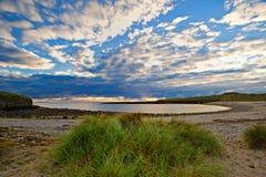 Sligo Coastline. Evening sun lights beach and sky at Streedagh, Co.Sligo, Ireland Stock Images