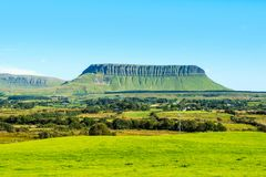 Panoramic view of Benbulbin mountains during the sunny day with landscape in Sligo, Ireland. Sligo, Ireland. Panoramic view of Benbulbin mountains during the Royalty Free Stock Images
