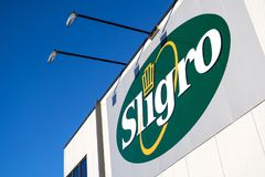 Sligro logo at cash & carry market. Sligro has a network of 50 Cash & Carry outlets and 8 Delivery Service outlets stock photography