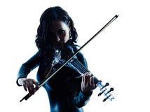 Slihouette de la mujer del violinista aislado Fotos de archivo libres de regalías