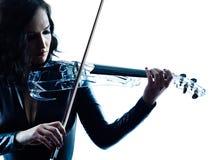 Slihouette de la mujer del violinista aislado Imagen de archivo