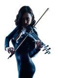 Slihouette de la mujer del violinista aislado Imagen de archivo libre de regalías