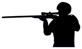 Slihouette Sniper. Siteing up their target with telescope Royalty Free Stock Images