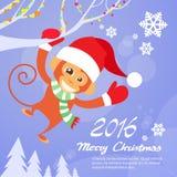 Slijtage Santa Hat New Year Sign van de aap de Gelukkige Glimlach Royalty-vrije Stock Afbeeldingen