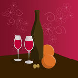 Slill life. A bottle of wine and two glasses vector illustration