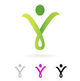 Slim abstract human silhouette sign ( green ) vector illustration