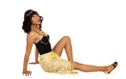 Slim African American Woman Sitting Leotards Shawl Royalty Free Stock Images