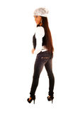 Slim African girl standing. stock images