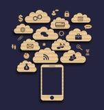 Slim apparaat met wolk van toepassingspictogrammen, zaken infograph Stock Afbeeldingen