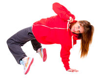 Slim athletic girl dancing hip-hop Royalty Free Stock Photos