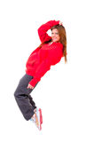 Slim athletic girl dancing hip-hop Royalty Free Stock Images