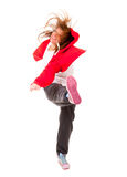 Slim athletic girl dancing hip-hop. Isolated over white Royalty Free Stock Photography