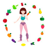 Slim athletic girl, fresh vegetables and fruits Stock Photos