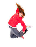 Slim athletic girl jumping Stock Image