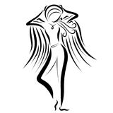 Slim athletic girl with wings.  Royalty Free Stock Image