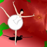 Slim ballerina dancing on petal of beautiful red flower. High ballerina dancer making pas on one foot inside a big flower Royalty Free Stock Images