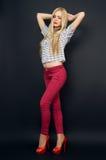 Slim beautiful girl posing in studio Stock Images