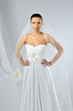 Slim beautiful woman wearing luxurious wedding dress Stock Photography