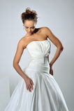 Slim beautiful woman wearing luxurious wedding dress Royalty Free Stock Photo
