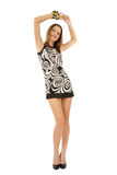 Slim beauty. Happy slim stylish young girl standing on white background Royalty Free Stock Photos