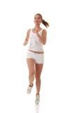 Slim and beauty caucasian running woman. Full isolated picture of a slim and beauty caucasian running woman Stock Photography