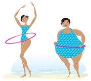 Slim and big girls exercising. Slim and fat girls making exercises with bow on the beach Stock Image