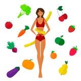 Slim black girl, fresh fruits and vegetables Stock Photo