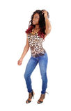 Slim black woman dancing. Royalty Free Stock Image