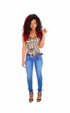 Slim black woman standing. Royalty Free Stock Photo