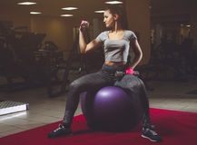 Slim, bodybuilder girl lifting heavy dumbbells, sit on the ball for fitness during a workout at the gym. Royalty Free Stock Photography