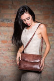 Slim brunette with handbag Stock Photo