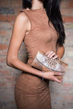 Slim brunette with purse Royalty Free Stock Image