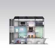 Slim bureauconcept Energiesteun door zonnepaneel, opslag aan batterijsysteem Royalty-vrije Stock Afbeelding