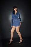 Slim caucasian brunette glamour girl Royalty Free Stock Photos