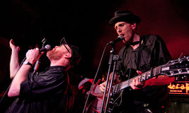 Slim Cessna's Auto Club (American country music band) performs  at Sidecar stage. BARCELONA - FEB 4: Slim Cessna's Auto Club (American country music band) Royalty Free Stock Images