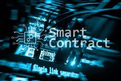 Slim contract, blockchain technologie in moderne zaken royalty-vrije stock fotografie