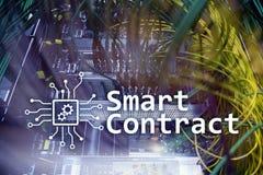 Slim contract, blockchain technologie in moderne zaken royalty-vrije stock afbeeldingen