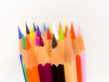Slim crayon tips blur. Red on white background Stock Photos