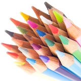 Slim crayon tips diagonal on white. Arrangement Stock Photography
