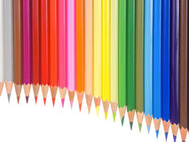 Slim crayons pan flute arrangement copy space Royalty Free Stock Photos