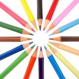 Slim crayons radial arrangement Royalty Free Stock Image