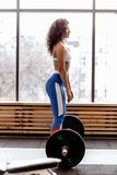 Slim curly dark-haired girl dressed in sports clothes is doing back squats with heavy barbell in the modern gym royalty free stock image