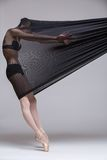 Slim dancer plays with black mesh fabric Royalty Free Stock Images