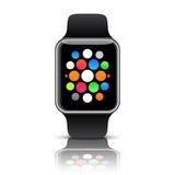 Slim die horloge met pictogrammen op witte achtergrond wordt geïsoleerd Vector illustratie royalty-vrije illustratie