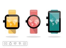 Slim die horloge of wearable op handapparaat met geplaatste eigenschappictogrammen wordt geplaatst Stock Foto's