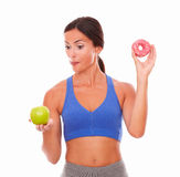Slim dieting adult woman looking hungry Stock Images