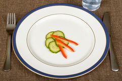 Slim dish for dieting. A slim dish for dieting made of cucumbers and paprika on white plate. Fork and knife beside Stock Images